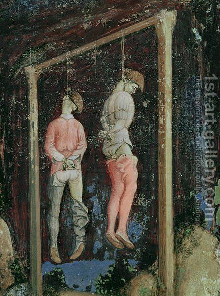 St. George and the Princess of Trebizond, detail of two hanging men from the left hand side, c.1433-38 by Antonio Pisano (Pisanello) - Reproduction Oil Painting
