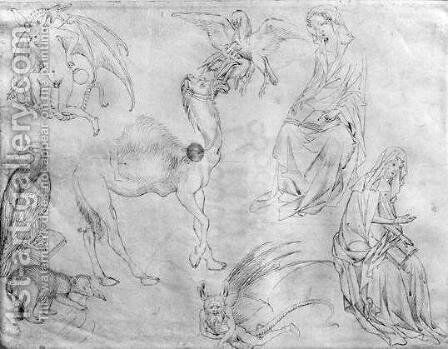 Sheet of studies, from the The Vallardi Album by Antonio Pisano (Pisanello) - Reproduction Oil Painting