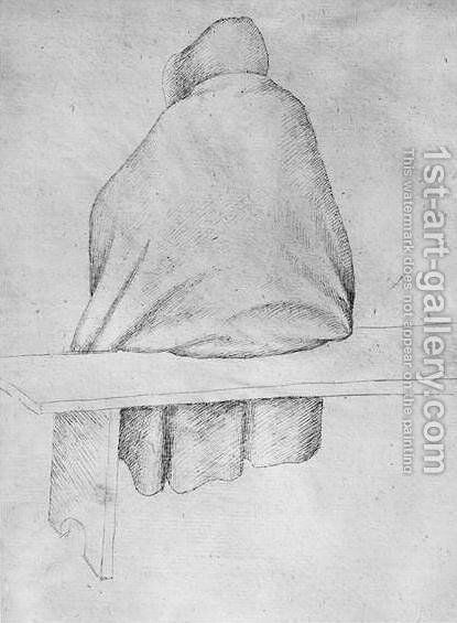 Monk seated on a bench, seen from behind, from the The Vallardi Album by Antonio Pisano (Pisanello) - Reproduction Oil Painting