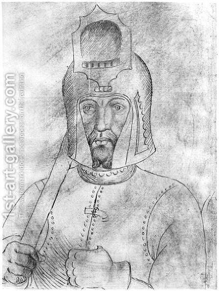 Soldier wearing a visored helmet, from the The Vallardi Album 2 by Antonio Pisano (Pisanello) - Reproduction Oil Painting