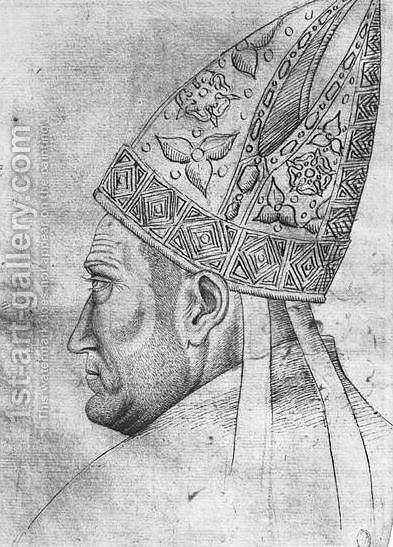 Head of a bishop, from the The Vallardi Album by Antonio Pisano (Pisanello) - Reproduction Oil Painting