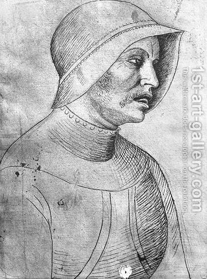 Soldier wearing a helmet, from the The Vallardi Album by Antonio Pisano (Pisanello) - Reproduction Oil Painting