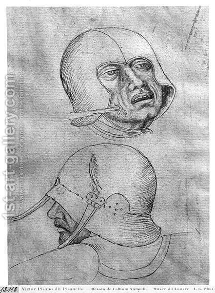 Two heads of soldiers wearing helmets, from the The Vallardi Album by Antonio Pisano (Pisanello) - Reproduction Oil Painting