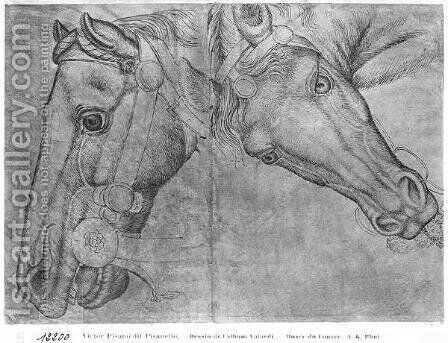Heads of horses, from the The Vallardi Album by Antonio Pisano (Pisanello) - Reproduction Oil Painting