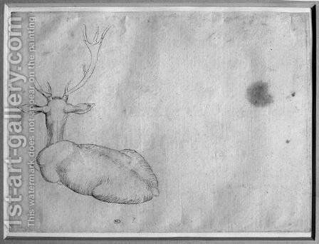 Resting stag, seen from behind, from the The Vallardi Album by Antonio Pisano (Pisanello) - Reproduction Oil Painting