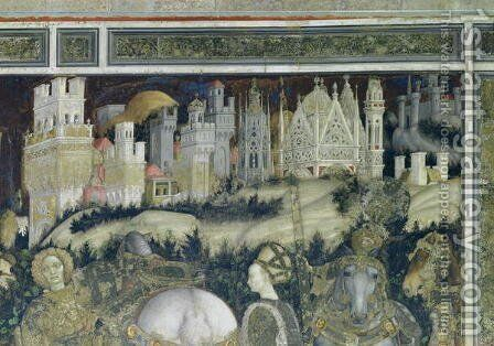 St. George and the Princess of Trebizond, detail of the city in the background, c.1433-38 by Antonio Pisano (Pisanello) - Reproduction Oil Painting