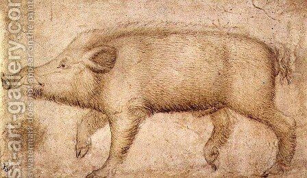 A Wild Boar by Antonio Pisano (Pisanello) - Reproduction Oil Painting