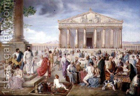 St. Paul Preaching Before the Temple of Diana at Ephesus, 1885 by Adolf Pirsch - Reproduction Oil Painting