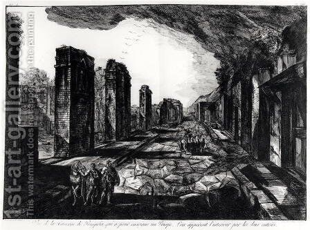 View of the Tavern of Pompeii with the Priapus Shop Sign, from Antiquites de Pompeia by G.B. Piranesi, engraved by Francesco Piranesi 1758-1810 1804 by Giovanni Battista Piranesi - Reproduction Oil Painting
