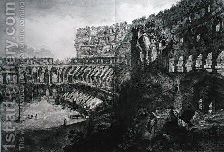 View of the interior of the Coliseum, from Le Antichita Romane de G.B. Piranesi 1756, published in Paris, 1835 by Giovanni Battista Piranesi - Reproduction Oil Painting