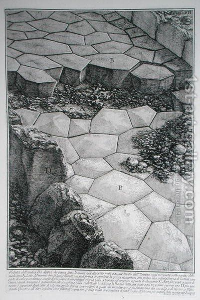 The paving of the Via Appia Antica, from Le Antichita Romane de G.B. Piranesi 1756, published in Paris, 1835 by Giovanni Battista Piranesi - Reproduction Oil Painting