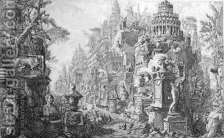 Allegorical Frontispiece of Rome and its history, from 'Le Antichita Romane de G.B. Piranesi 1756, published in Paris, 1835 by Giovanni Battista Piranesi - Reproduction Oil Painting