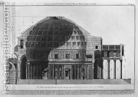 Longitudinal Section of the Pantheon showing the dome, the portico and the interior of the temple from Vedute, first published in 1756, pub. by E and F.N. Spon Ltd., 1900 by Giovanni Battista Piranesi - Reproduction Oil Painting