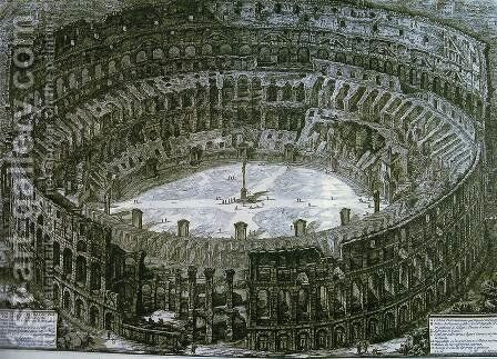 Aerial view of the Colosseum in Rome from Views of Rome, first published in 1756, printed Paris 1800 by Giovanni Battista Piranesi - Reproduction Oil Painting
