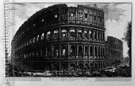 Plate XCVII-VIII View of the Flavian Amphitheatre, known as the Colosseum from Vedute, first published in 1756, pub. by E and F.N. Spon Ltd., 1900 by Giovanni Battista Piranesi - Reproduction Oil Painting