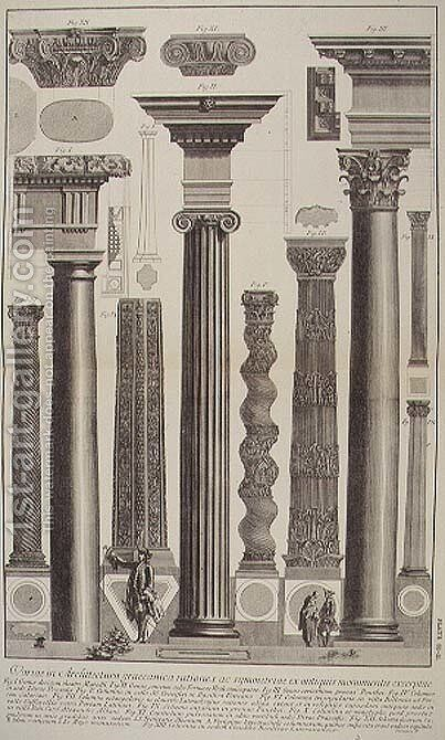 Plate CI-II Variations in Greek Architecture depicting a table of columns from monuments of antiquity from Vedute, first published in 1756, pub. by E. and F.N. Spon Ltd., 1900 by Giovanni Battista Piranesi - Reproduction Oil Painting