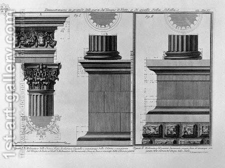 Illustration of the column structure of the Temple of Vesta and the Temple of Sibilla from Vedute, first published in 1756, pub. by E and F.N. Spon Ltd., 1900 by Giovanni Battista Piranesi - Reproduction Oil Painting