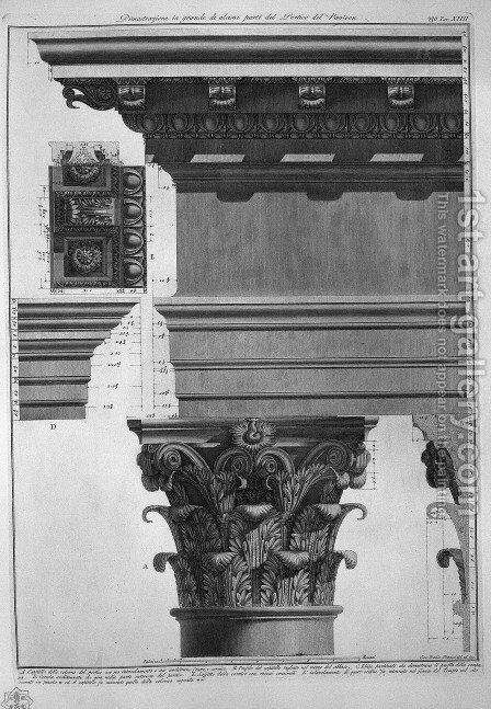 Plate XC-I Large scale Illustration of a detail of the Portico of the Pantheon from Vedute, first published in 1756, pub. by E. and F.N Spon Ltd., 1900 by Giovanni Battista Piranesi - Reproduction Oil Painting