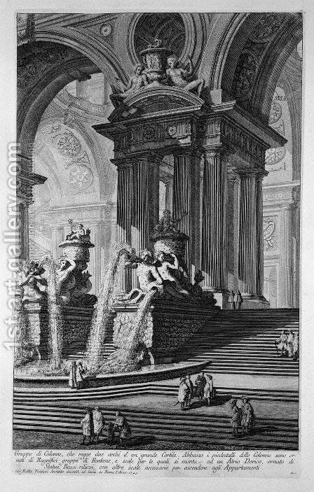 Plate LXV Architectural capriccio of a monumental group of columns supporting two arches of a grand courtyard with magnificent fountains ornamented with statues and bas-reliefs dated 1743 from Vedute, first published in 1756, pub. by E a F.N. Spon Ltd., by Giovanni Battista Piranesi - Reproduction Oil Painting