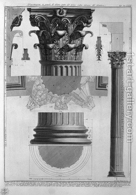 Plate LXXXVIII-IX Demonstration in large scale of parts of the first order of columns inside the Pantheon from Vedute, first published in 1756, published by E. and F.N. Spon Ltd., 1900 by Giovanni Battista Piranesi - Reproduction Oil Painting