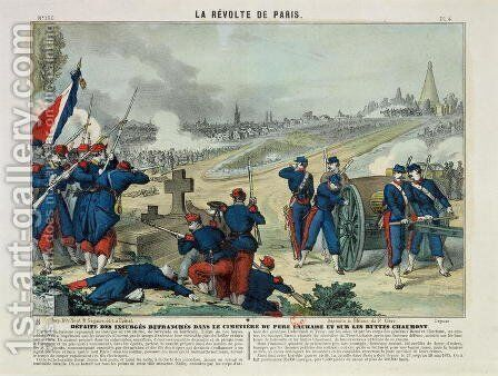 Defeat of the Rebels Entrenched in the Cemetery of Pere Lachaise and on Chaumont Hill, 1871 by Charles Francois Pinot - Reproduction Oil Painting