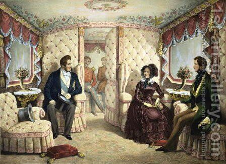 Interior of the Queens Railway Carriage, engraved by Jules David 1808-92, c.1844 by Edouard Pingret - Reproduction Oil Painting