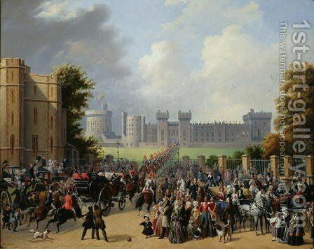 The Arrival of Louis-Philippe 1773-1850 at Windsor Castle, 8th October 1844, 1845 by Edouard Pingret - Reproduction Oil Painting