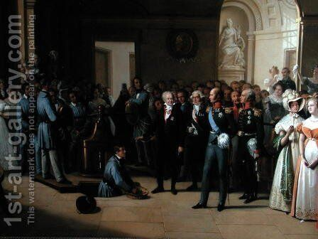 Tsar Alexander I 1777-1825 visiting the Paris Hotel de La Monnaie on 25th May 1814, 1844 2 by Edouard Pingret - Reproduction Oil Painting