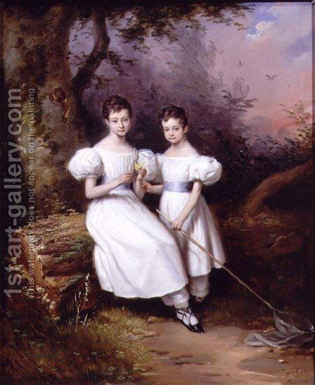 Portrait of Two Children, 1831 by Edouard Pingret - Reproduction Oil Painting