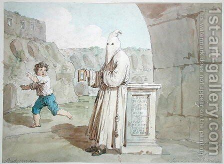 Hooded Penitent at the Coliseum by Bartolomeo Pinelli - Reproduction Oil Painting