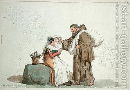 Monk offering a reliquary for a woman to kiss in Frascati, 1825 by Bartolomeo Pinelli - Reproduction Oil Painting