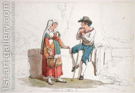 Peasant and Woman from Cervara, 1825 by Bartolomeo Pinelli - Reproduction Oil Painting