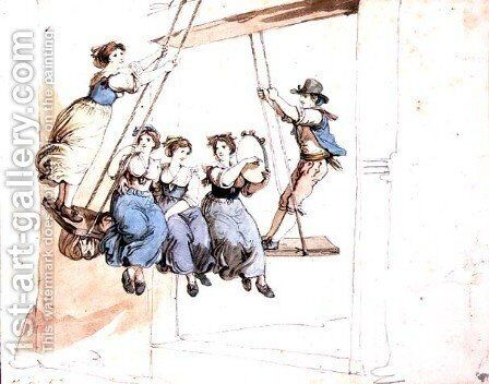On the Swing by Bartolomeo Pinelli - Reproduction Oil Painting