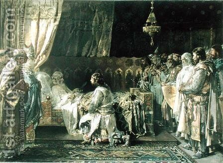 The Last Moments of King James I 1207-76 the Conquistador by Ignacio Pinazo Camarlech - Reproduction Oil Painting