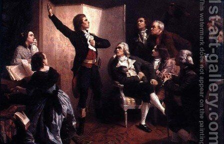 Rouget de Lisle 1760-1836 singing the Marseillaise at the home of Dietrich, Mayor of Strasbourg, April 1792 by Isidore Alexandre Augustin Pils - Reproduction Oil Painting