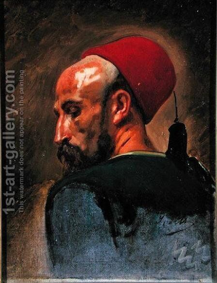 Head of an Arab in a Fez by Isidore Alexandre Augustin Pils - Reproduction Oil Painting