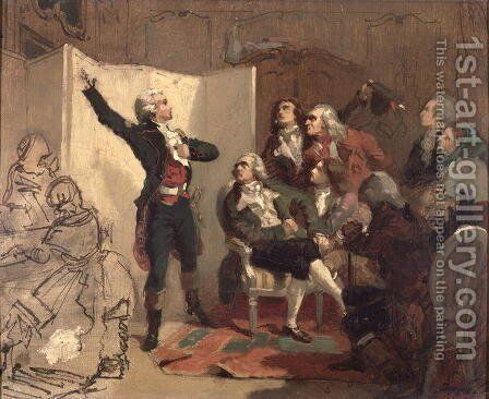 Claude Joseph Rouget de Lisle 1760-1836 singing the Marseillaise at the home of Dietrich, Mayor of Strasbourg, 26th April 1792 by Isidore Alexandre Augustin Pils - Reproduction Oil Painting