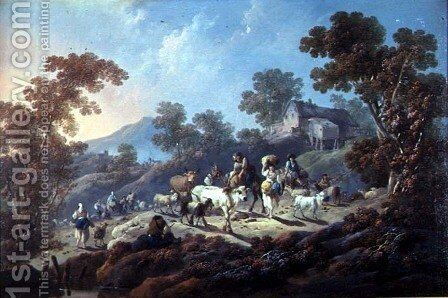 A Rocky Wooded Landscape by Jean-Baptiste Pillement - Reproduction Oil Painting