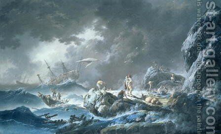 Shipwreck by Jean-Baptiste Pillement - Reproduction Oil Painting