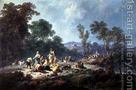 A Wooded Landscape by Jean-Baptiste Pillement - Reproduction Oil Painting