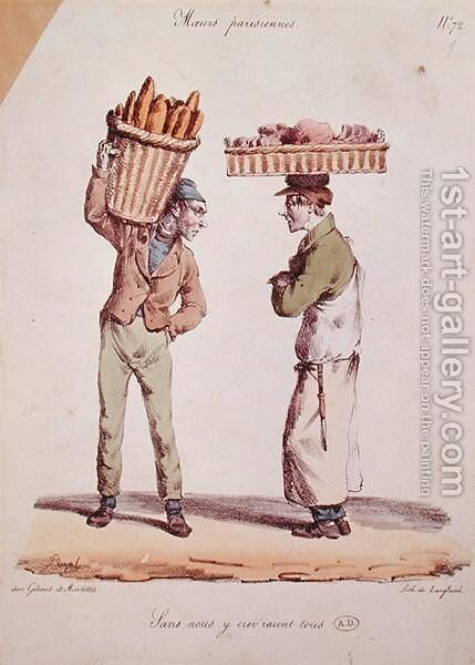 Caricature of two young tradesmen talking, plate number 72 from the Moeurs Parisiennes series, engraved by Langlume, c.1820 by (after) Pigal, Edme Jean - Reproduction Oil Painting