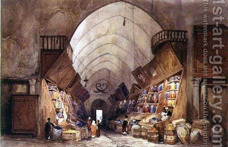 In the Bazaar - the Apothecarys Stall by Charles Pierron - Reproduction Oil Painting