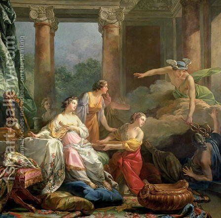 Mercury, Herse and Aglauros, 1763 by Jean-Baptiste-Marie Pierre - Reproduction Oil Painting