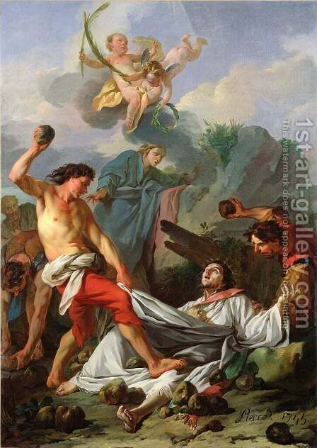 Martyrdom of St. Stephen, 1745 by Jean-Baptiste-Marie Pierre - Reproduction Oil Painting