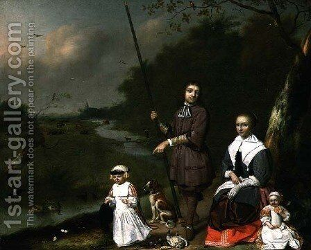 A Family Group by a River, 1668 by Cornelis Picolet - Reproduction Oil Painting