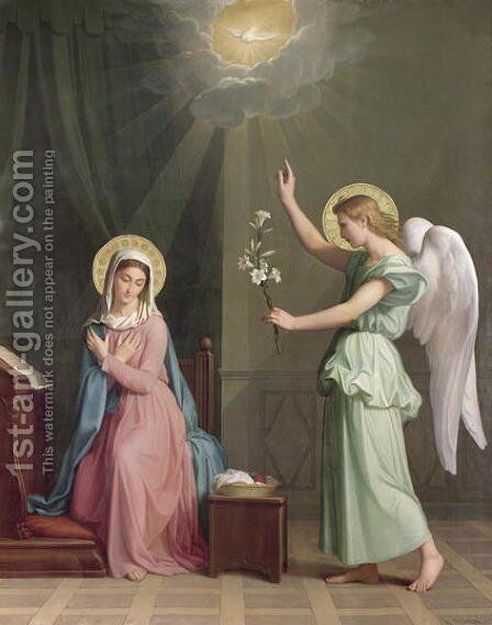 The Annunciation, 1859 by Auguste Pichon - Reproduction Oil Painting