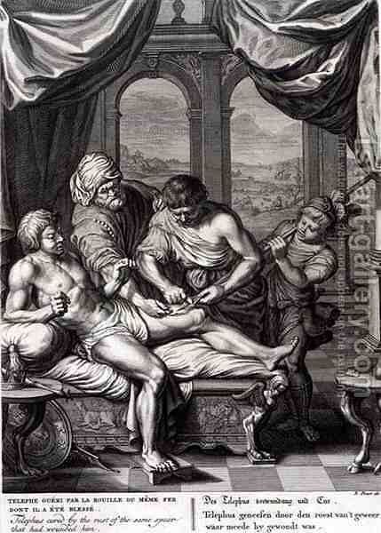 Telephus Cured by the Rust of the Same Spear Which Wounded him, 1731 by Bernard Picart - Reproduction Oil Painting