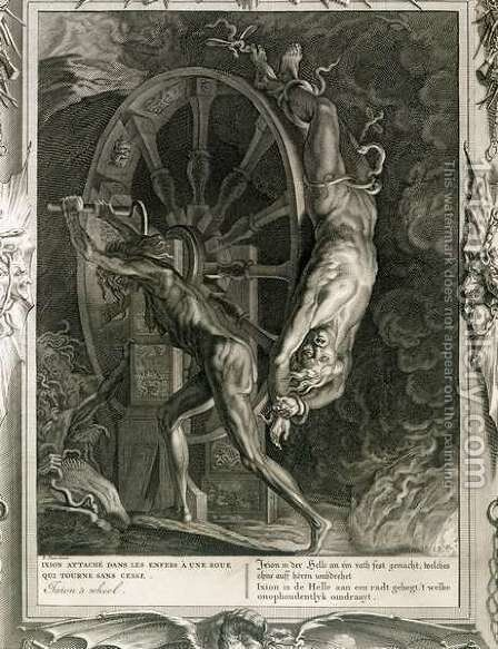 Ixion in Tartarus on the Wheel, 1731 by Bernard Picart - Reproduction Oil Painting