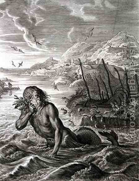 Glaucus Turned into a Sea-God, 1731 by Bernard Picart - Reproduction Oil Painting