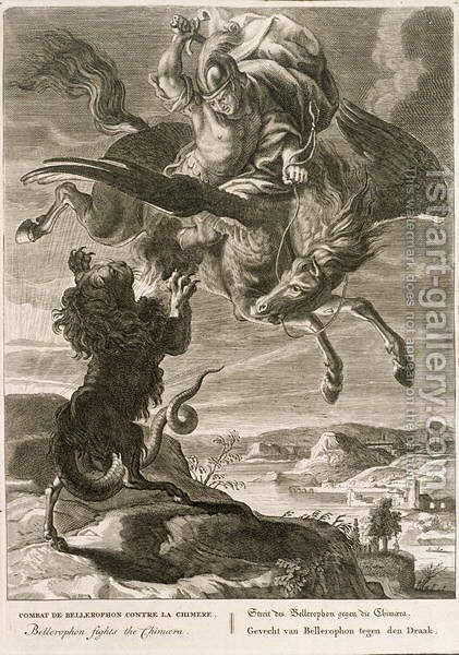 Bellerophon Fights the Chimaera, 1731 by Bernard Picart - Reproduction Oil Painting